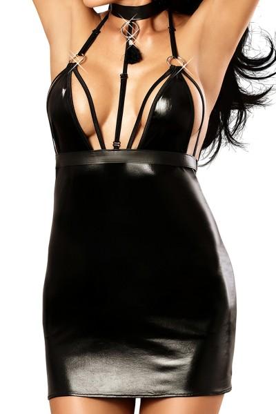 Schwarzes Damen Dessous wetlook Minikleid aus Lederimitat mit Reißverschluss / erotisches Abendkleid