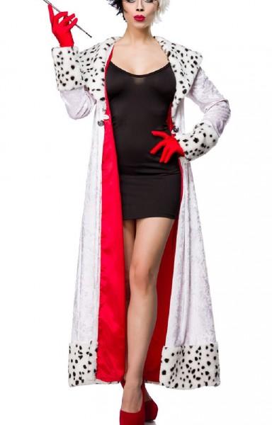 Damen Dalmatiner Outfit Kostüm Kleid mit Mantel im Dalmatiner Look und Handschuhe in Evil Dalmatian
