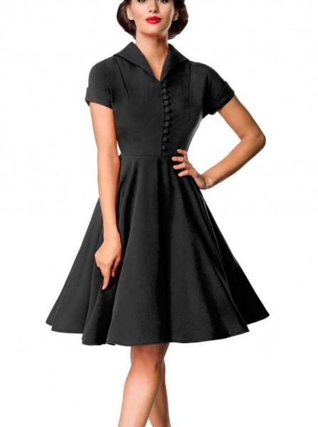 Retro Damen Swingkleid in schwarz mit Knopfleiste vorn Vintagekleid mit kurzen Ärmeln und Umlege Kra