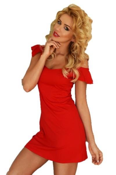 Rotes Damen Dessous Nachtkleid Mini-Kleid blickdicht dehnbar Sommerkleid