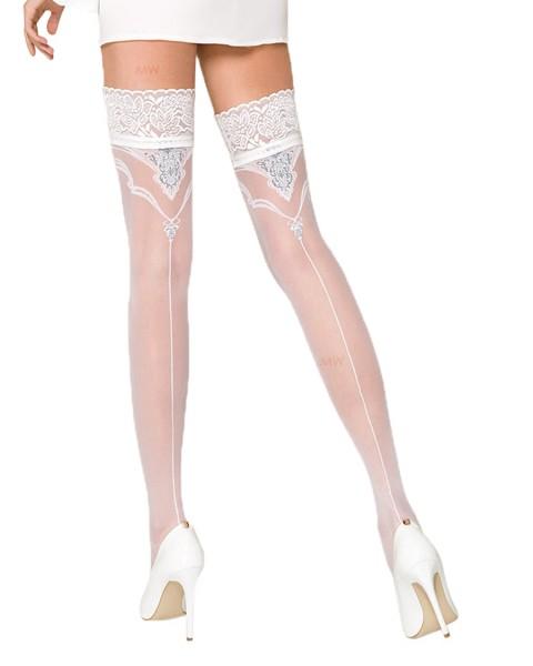 Halterlose Damen Dessous Strümpfe Stockings in weiß mit Spitze und Silikonstreifen 20 den