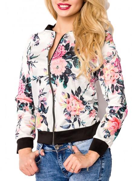 Weiße kurze Damen Blouson Jacke mit langen Ärmeln und Blumenmuster Metallreißverschluss vorn