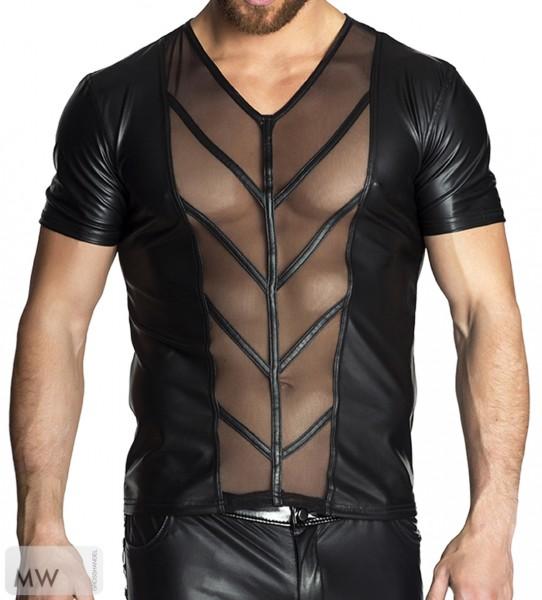 Schwarzes Herren Shirt teiltransparent aus wetlook Material und Tüll Männer Dessous Shirt