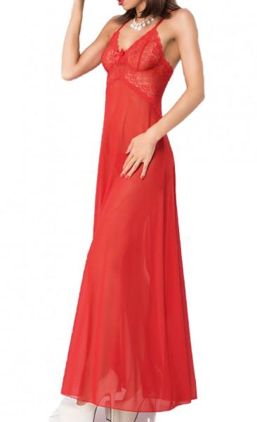 Langes Babydoll mit Spitze in rot transparent mit Rückenschlitz inkl String Damen Nachtkleid