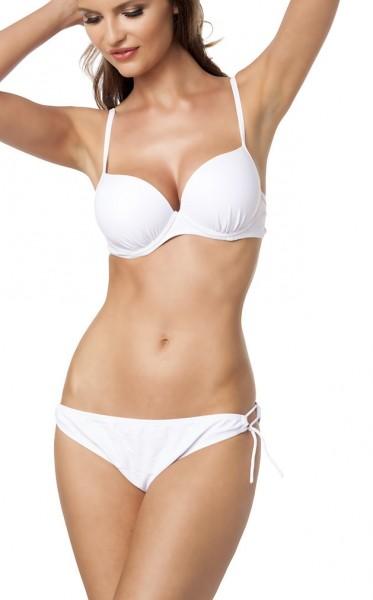 Weißer Damen Push Up Bikini mit silberner Schnalle aus Top mit Cups und zwei Höschen L