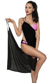 Strandtuch zum binden elegantes Sommerkleid leichtes Tuch Bademode Damen OneSize schwarz