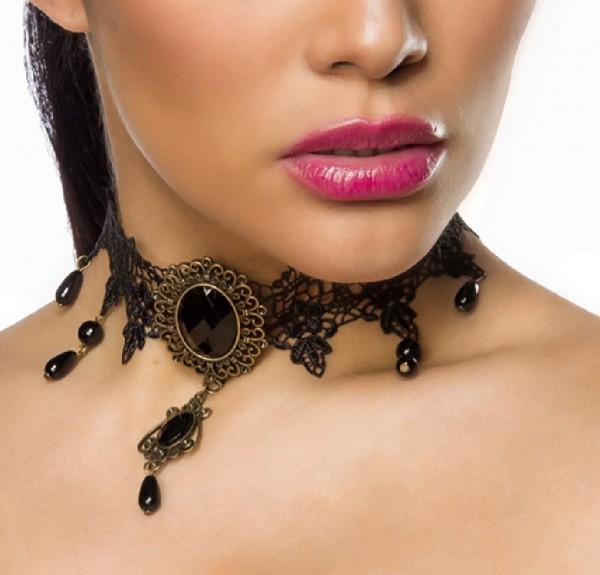 Schwarzer Damen Halsschmuck aus Spitze mit Schmucksteinen und Brosche Häkelspitze im Gothic Look