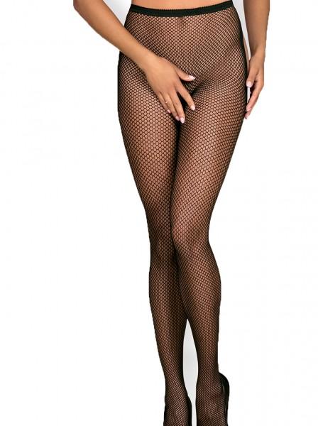 Erotische Stockings Frauen Dessous Strumpfhose halterlos Schnürung hinten offen Garter Mesh Schwarz