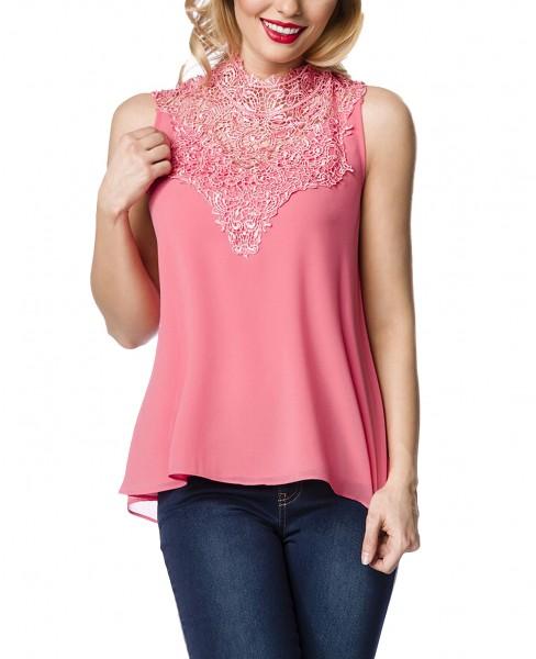 Sommerliches Top in rosa mit Spitze und Schleife am Nacken zum binden chiffonartig