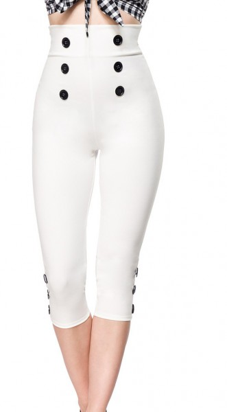 Weiße High Waist Caprihose mit Reißverschluss und eng geschnitten mit Knöpfen Stoff Caprihose Rockab
