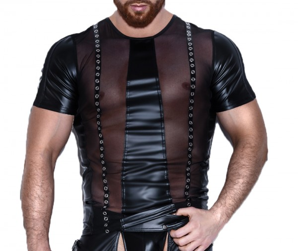 Schwarzes Herren wetlook fetisch Shirt Männer gothic Dessous Muskel-Shirt mit Ösen glänzend transpar