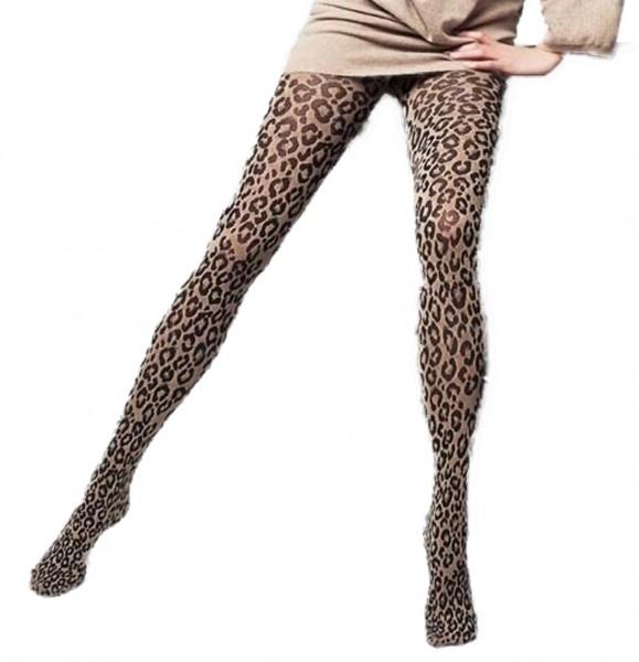 Damen Leopard Muster Strumpfhose Feinstrumpfhose gemustert camello