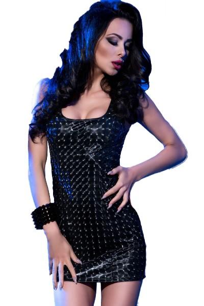 Damen Dessous 3D-Minikleid elatisch gemustert in schwarz