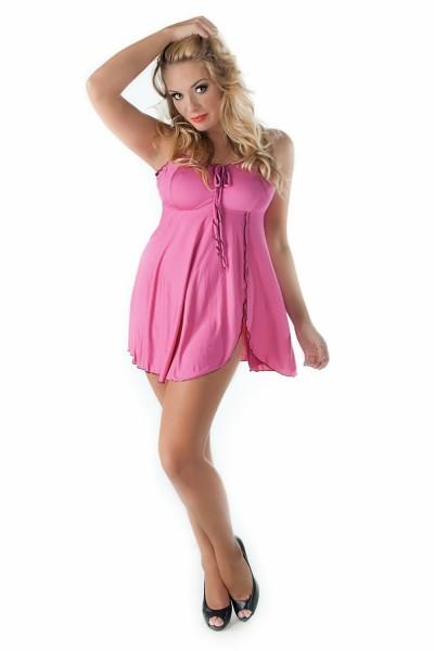 Rosa Damen Dessous XXL Chemise Negligee Nachtkleid mit Schlitz aus Baumwolle Damen Babydoll