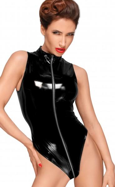 Schwarzes PVC-Body Dessous Lack Body mit drei Wege Reißverschluss vorn MiniBody kurz ohne Ärmeln