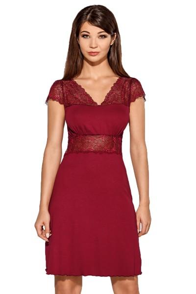 Zartes Damen Kleid blickdicht dehnbar mit Spitze in burgund knielang Frauen Abend-Kleid