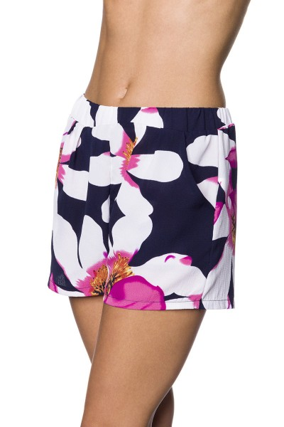 Weite Shorts mit buntem Blumendruck weite Schlupfhose mit Eingriffstaschen Crepe Stoff