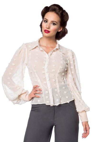 Beige kurze Vintage-Bluse mit langen Ärmeln und Umlegekragen transparenter Netzstoff Knopfleiste