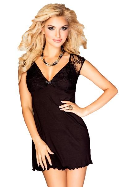 Schwarzes Damen Dessous Nachtkleid Mini-Kleid blickdicht dehnbar mit Spitze Sommerkleid