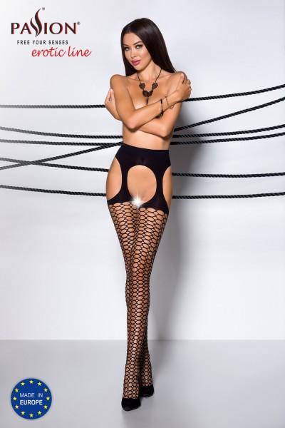 Frauen ouvert Strumpfhose schwarz elastisch im Schritt offen mit Straps-Schnitt