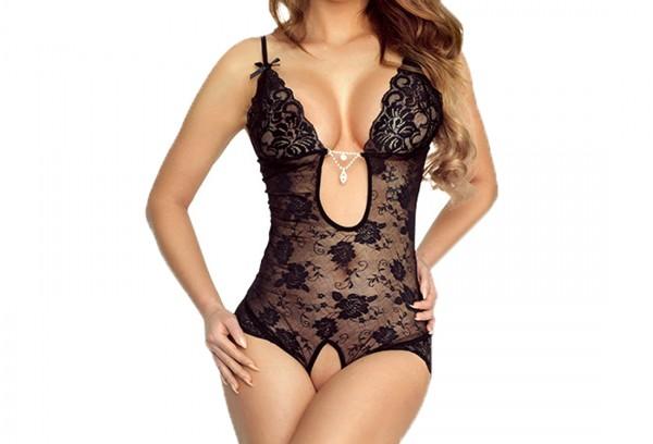 Damen Dessous Body ouvert in schwarz transparent mit Spitze und Strass
