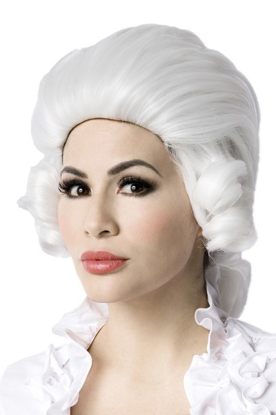 Weiße Damen Barock Frisur Perücke Zopf ohne Pony Locken Haare