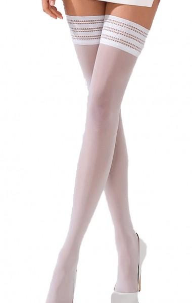 Halterlose Damen Dessous Strümpfe Stocking in weiß mit Spitze und Silikonrand 17 DEN