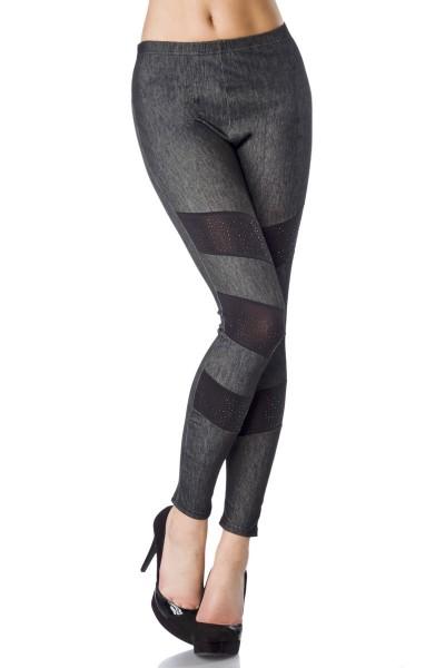 Jeans Leggings mit dunklen Einsätzen und Steinchen besetzt elastische Leggings