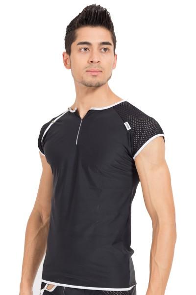 Schwarz/weißes Herren V-Shirt dehnbar, luftig und weich Herren Shirt mit Druckknöpfe