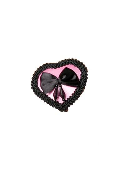 Schwarz rosaer Damen Nippel Patch glänzend und je einer Schleife verziert selbsthaftend Herzform 2x