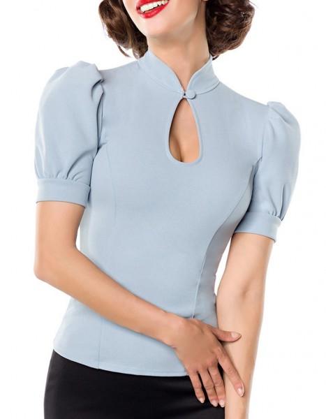 Hellblaue Puffärmel Bluse mit Stehkragen und Tropfenausschnitt mit Knopf Jersey Bluse Rockabilly Kur