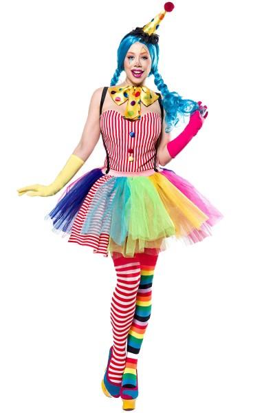 Damen Clown Outfit Kostüm Verkleidung mit Body, Hut, Haarreif, Tutu, Fliege, Strümpfe und Handschuhe