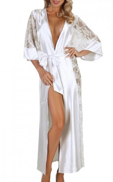 Damen Dessous Morgenmantel dreiviertel Ärmel mit String in weiß zum binden aus Satin und Spitze Kimo