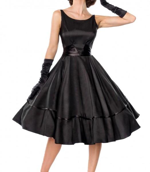 Schwarzes knielanges Swing Kleid im High Waist Schnitt mit Schleife und Rundem-Ausschnitt Vollglocke