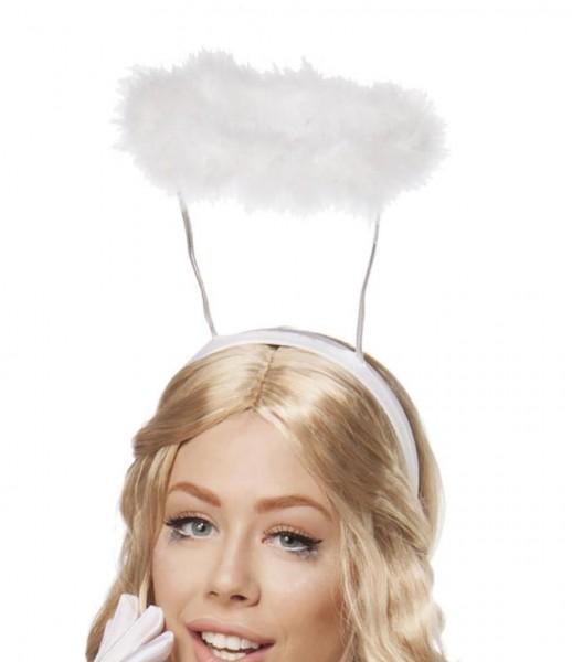 Weißer Damen Engel Kopfschmuck Heiligenschein mit Flausch Engelhaarreif Abendmode Verkleidung Fascin