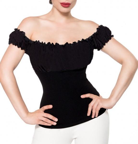 Schwarze schulterfreie Bluse aus Jersey mit kurzen Ärmeln und Carmenausschnitt einfarbig Retro-Top m