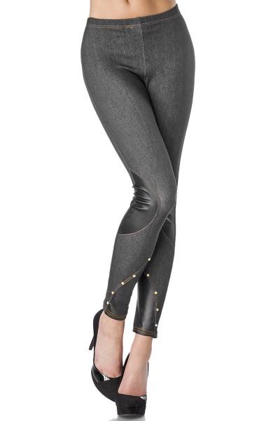 Legging im Jeans Look mit wetook Einsätzen und Nieten weich und dehnbar Gtröße S-M