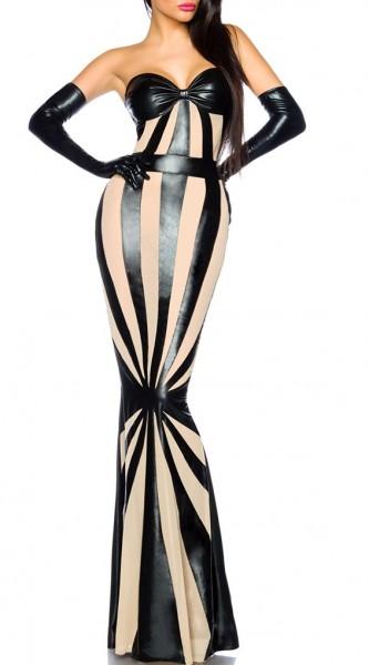 Schwarzes langes Wetlook Kleid mit weißen Netzeinsätzen gestreift Pencil Kleid