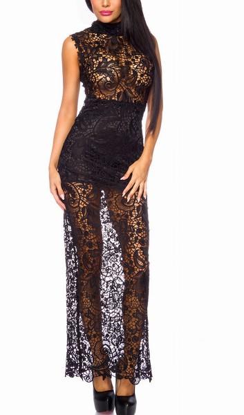 Schwarzes langes transparentes Abendkleid aus Spitze hochgeschlossen mit Stehkragen und Unterrock
