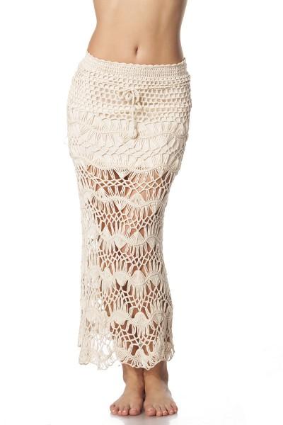 Damen Strandrock in beige langer Rock mit Häkelspitze transparent luftig OneSize XS-L