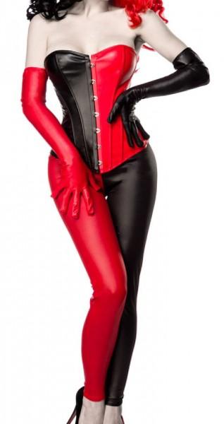 Damen Harlekin Corsage Kostüm Verkleidung mit Corsage, Leggings, Handschuhe in Lederoptik schwarz ro