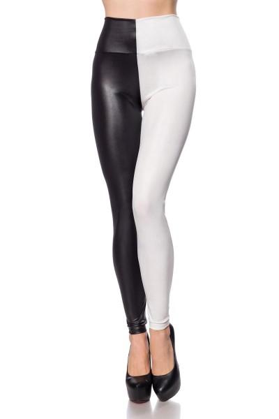 Damen Kontrast Leggings mit schwarzer Seite Hälfte dehnbar Wetlook schimmernd zweifarbig High Waist