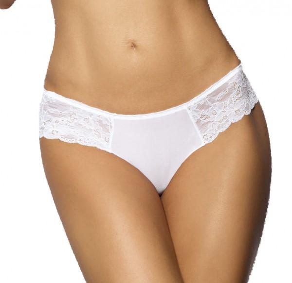 Weißer teiltransparenter Hotpant Panty aus Spitze mit Muster Tüll Blumenmuster-Hotpant Blütenspitze