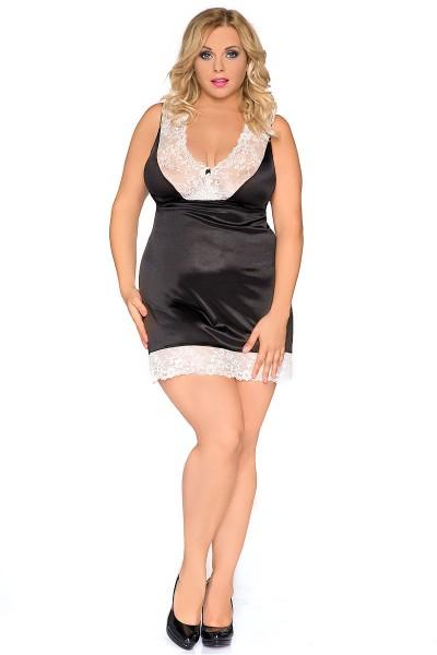 Erotisches schwarze weißes Damen Dessous Satin Negligee mit Spitze XXL Chemise Minikleid
