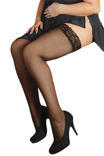 Erotische schwarze halterlose Strümpfe mit Spitze Damen Dessous Stockings Strapsstrümpfe transparent