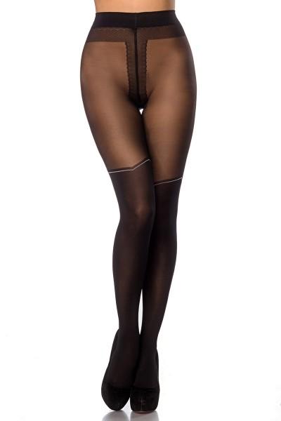 Transparente schwarze Damen Strumpfhose mit Overknee Design und Punkten elastischer Bund