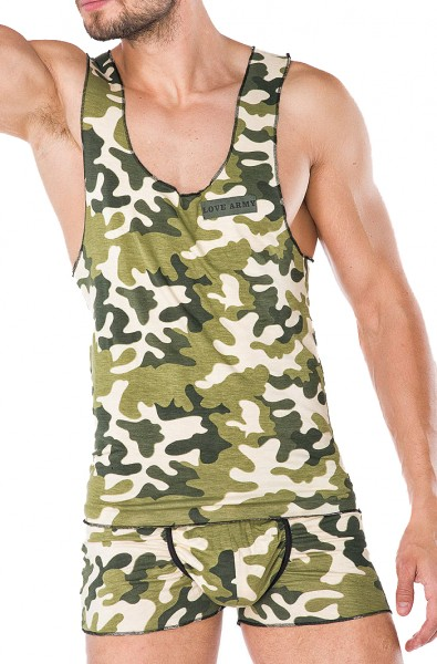 Herren Dessous Hemd Boxershort Set grün weiß aus Baumwolle mit Armee-Muster Männer Unterwäsche