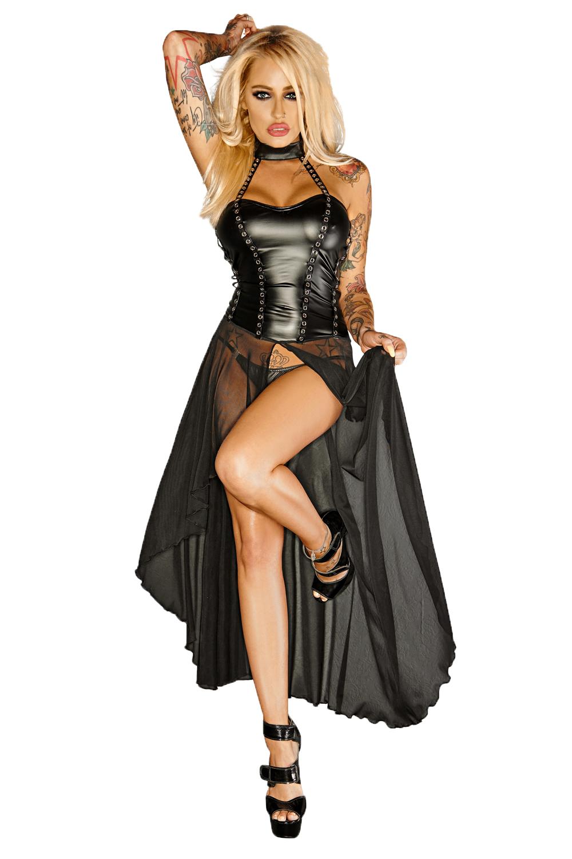 damen reizwäsche dessous kleid schwarz lang transparent wetlook mit  hakenverschluss und tüll