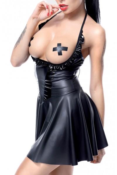 Schwarz glänzendes erotisches Damen fetisch wetlook Neckholder Minikleid dehnbar mit Schnürung und M