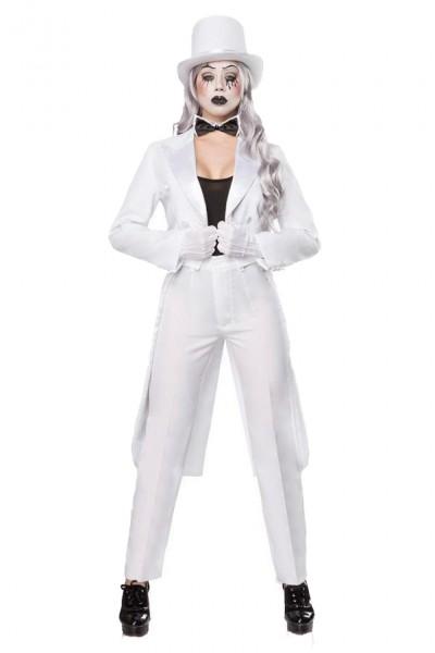Damen Pantomime Kostüm Verkleidung mit Top Hose und Fliege mit Frack, Hut und Handschuhe weiß
